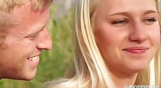 Amazing blonde teenager Sara fucking outdoors