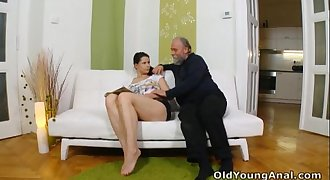 Irene is craving to have anal sex with old man